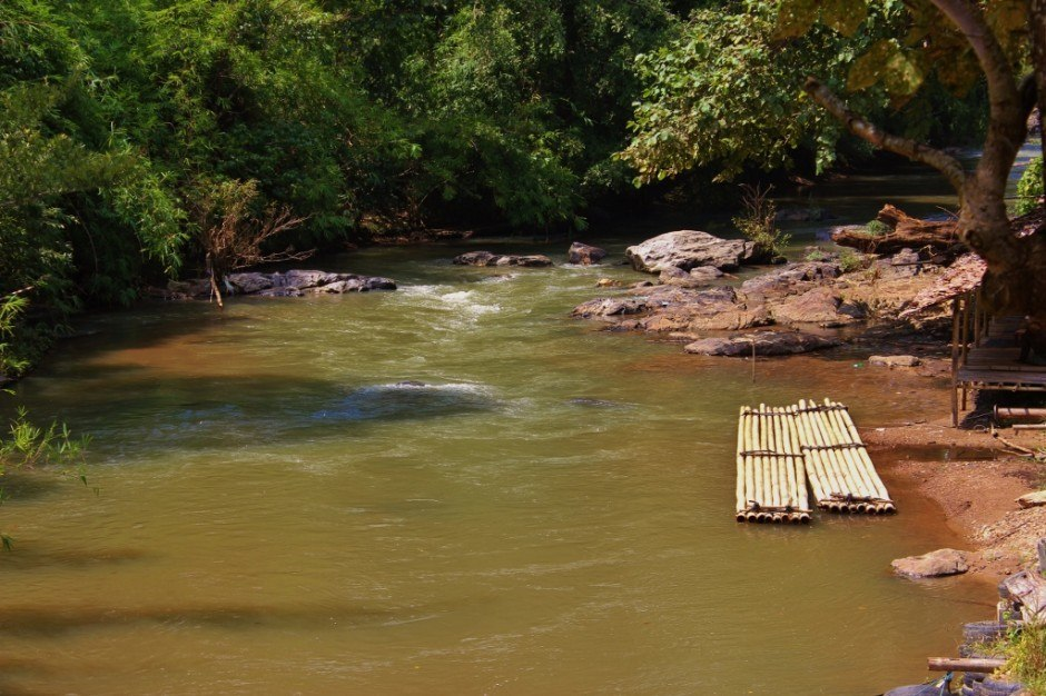 Chiang Mai trekking trip: our rafts for Bamboo rafting