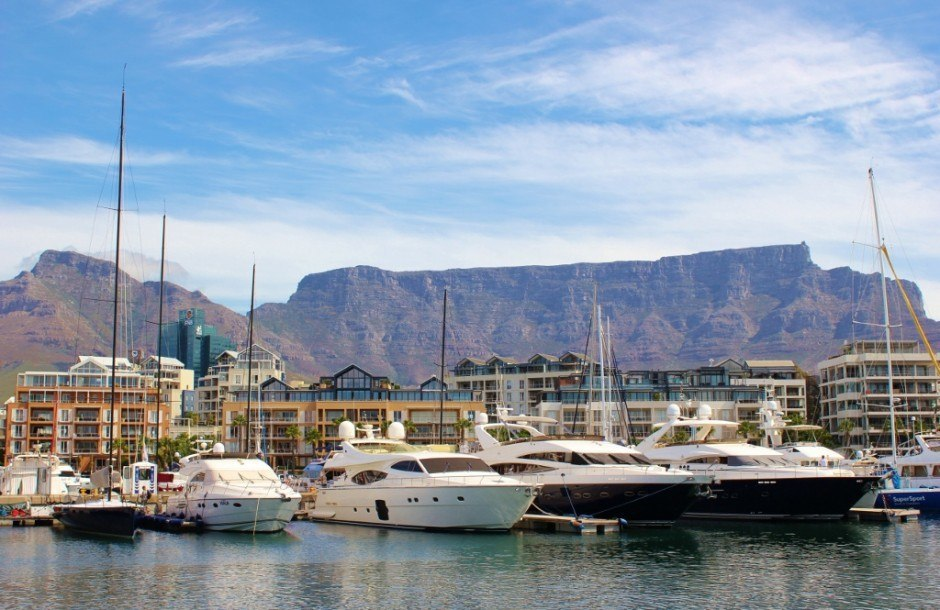 V&A Waterfront harbor in Cape Town, South Africa