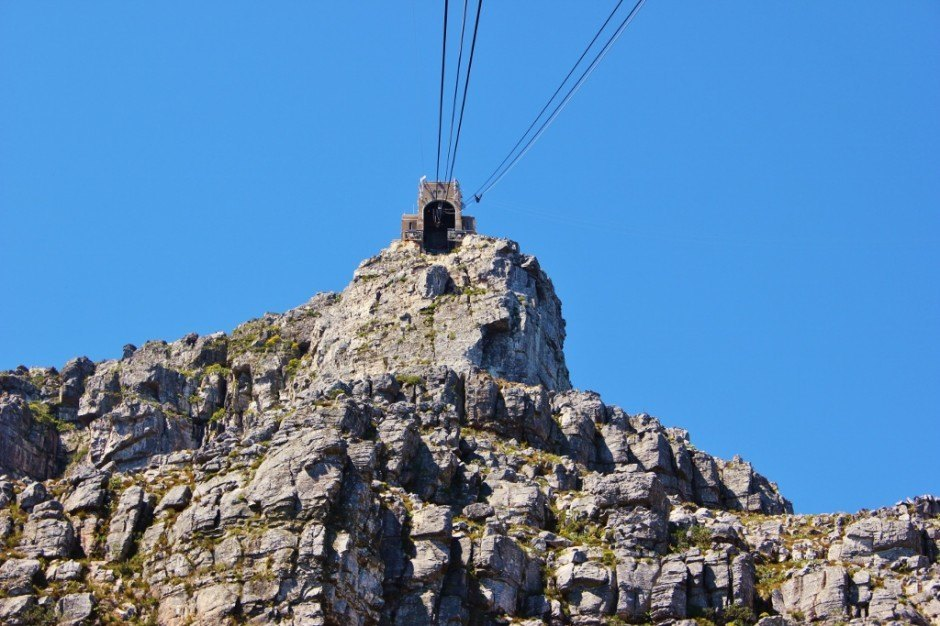 Table Mountain Cableway going up the mountain in Cape Town, South Africa