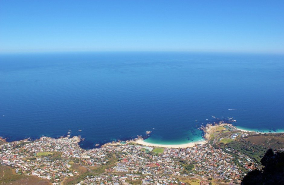 View from Table Mountain to Camps Bay in Cape Town, South Africa