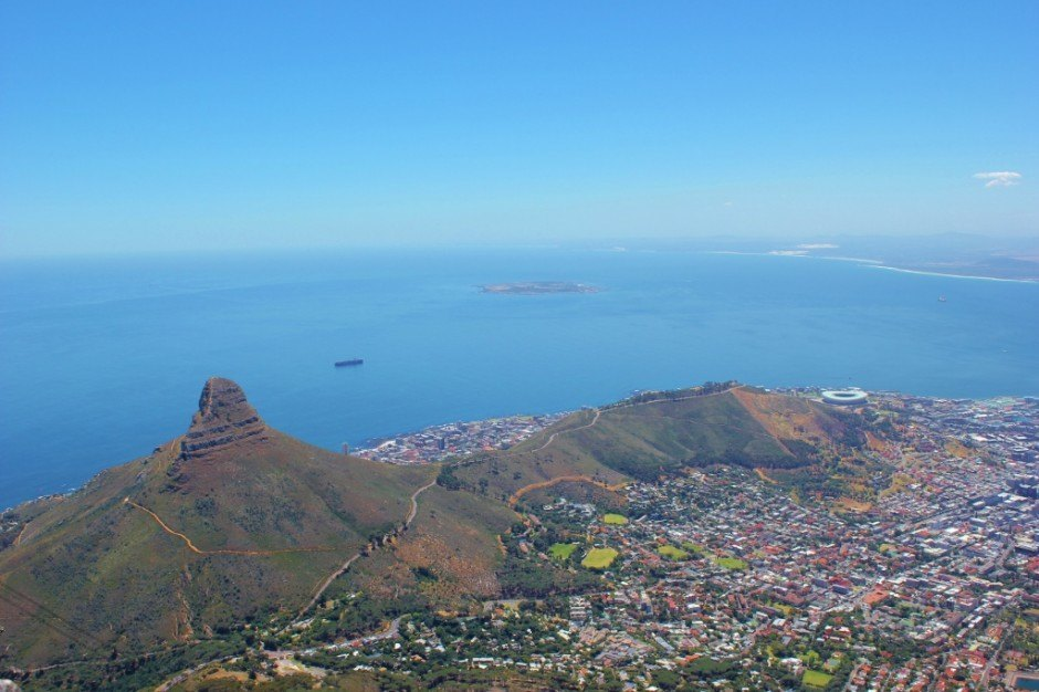 View from Table Mountain of Lion's Head and Signal Hill in Cape Town, South Africa