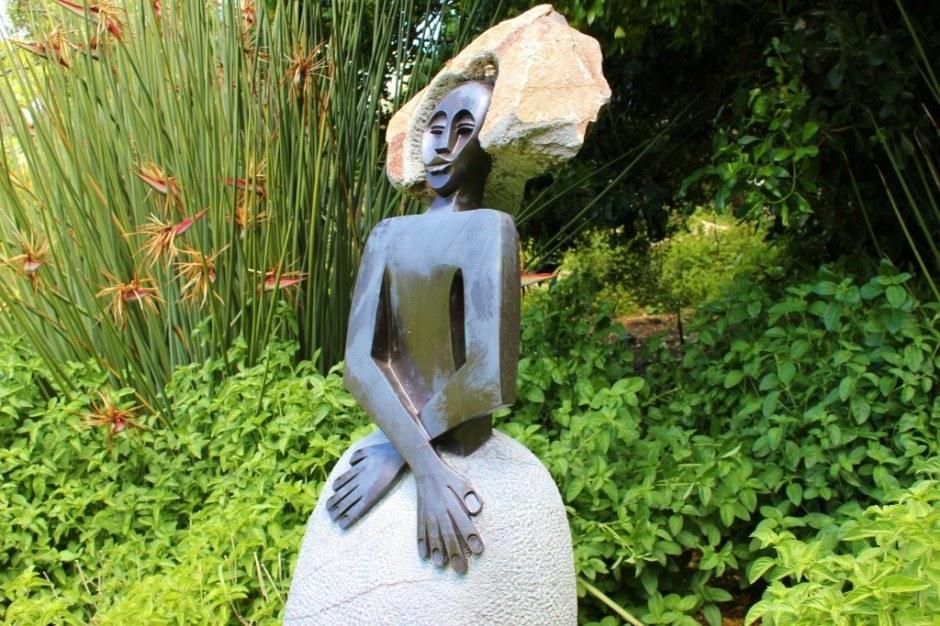 Visiting Kirstenbosch Botanical Garden: Stone African artwork on display in the Sculpture Garden