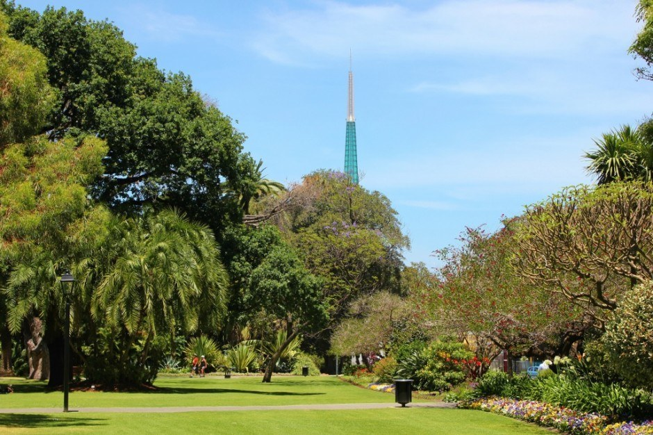 View of the Swan Bells tower from the Courthouse Gardens in Perth, Australia