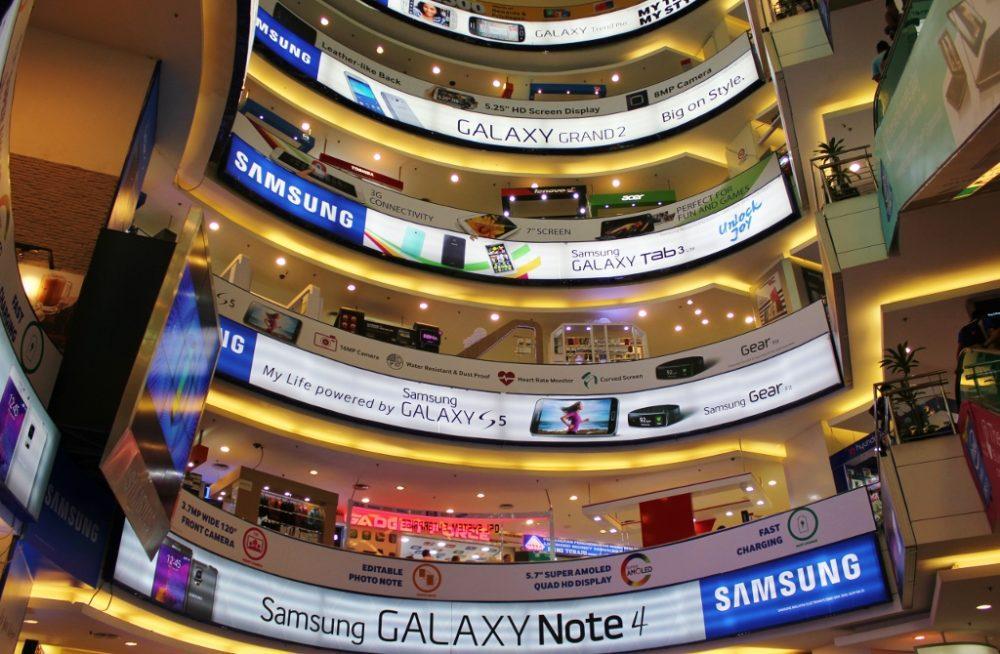 Multiple levels of tech gear at Low Yat Plaza in Kuala Lumpur, Malaysia