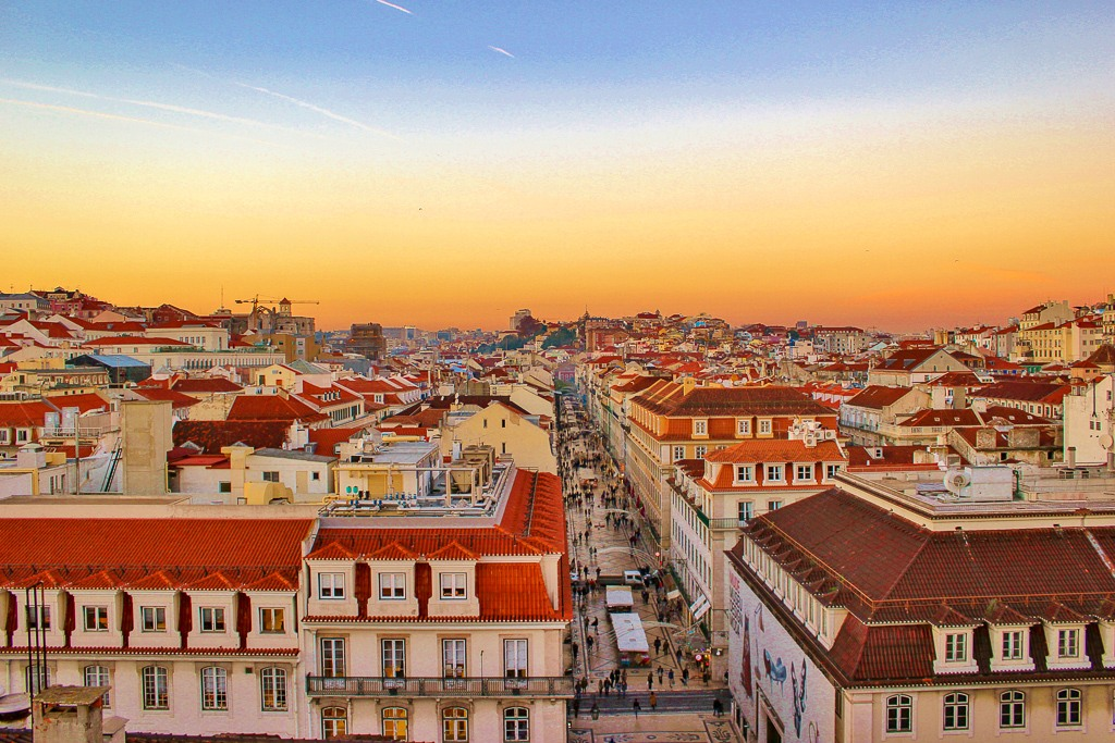 Sunset view from Arco da Rua Augusta, Lisbon Portugal.