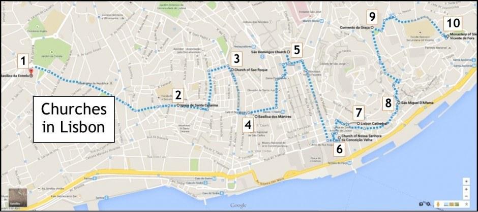 10 churches in Lisbon, Portugal map