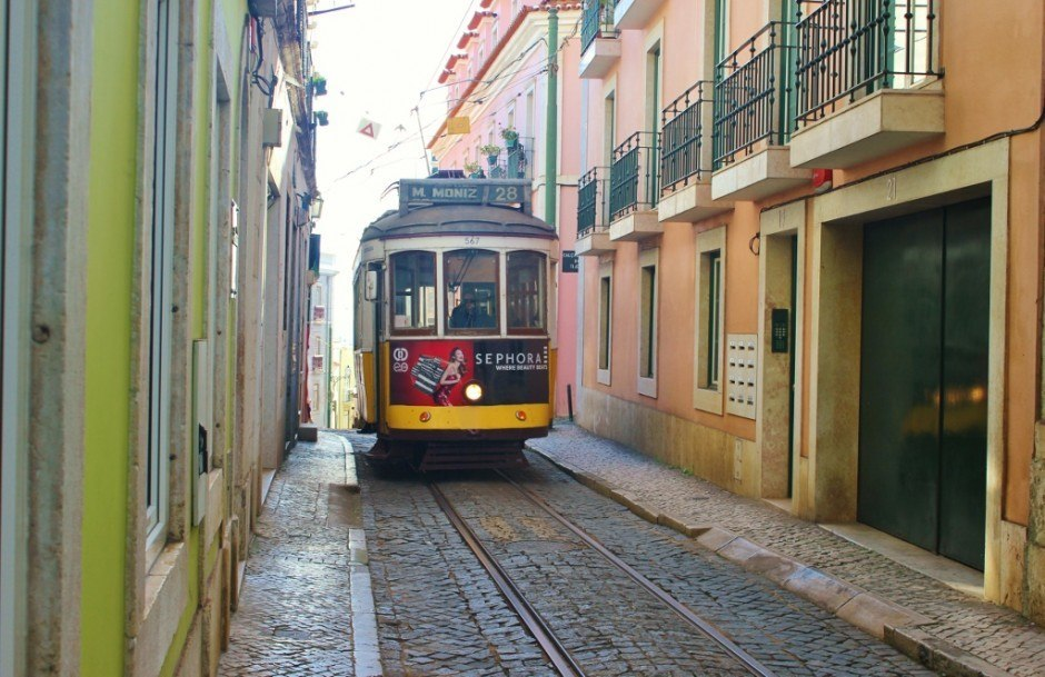 Some of the streets of Alfama are only wide enough for a single trolley to pass through.