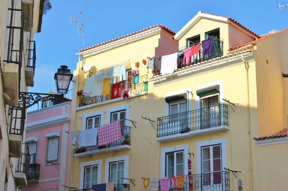 Hanging laundry is a signature look on the streets of Alfama.