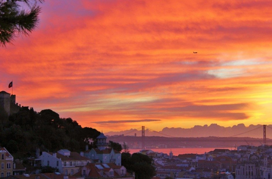 One of many scenic viewpoints in Lisbon at sunset