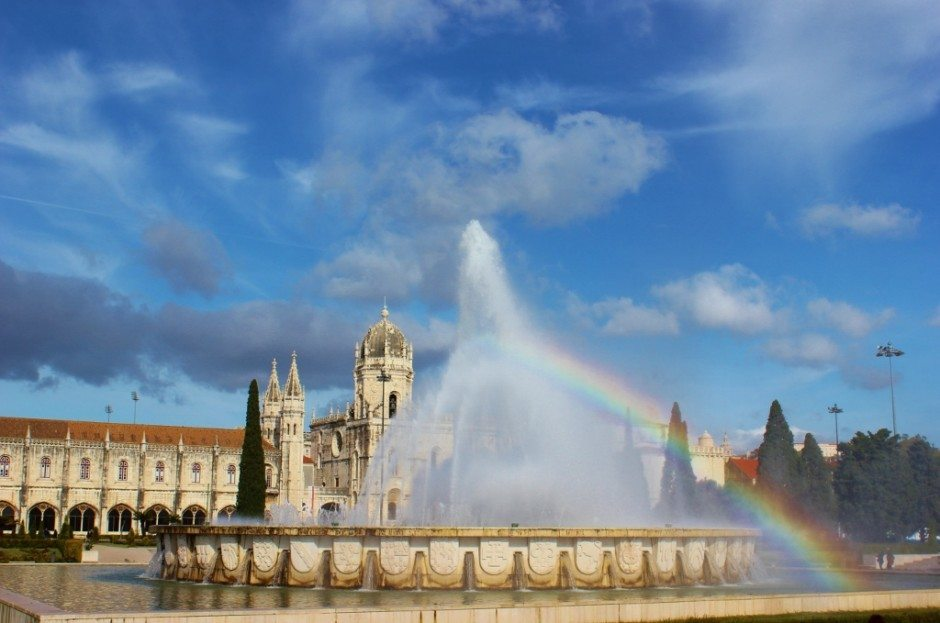 Jeronimos Monastery and fountain in Belem near Lisbon, Portugal
