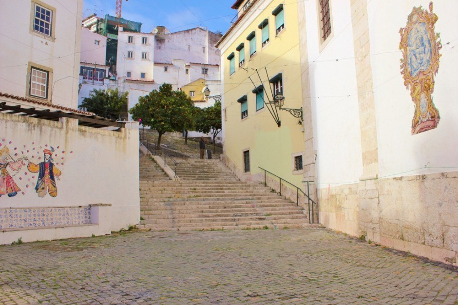 Open squares and titled art are two things easily found on the streets of Alfama.