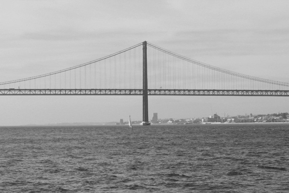 View of the 25 de Abril Bridge, west to Belem from the ferry boat to Lisbon's Cristo Rei