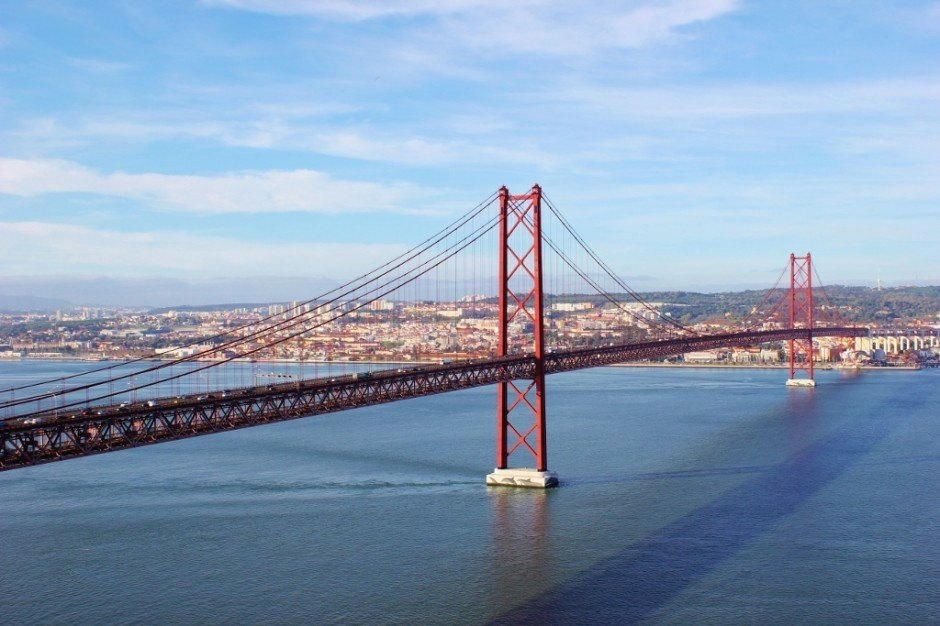 Ponte 25 de Abril in Lisbon, Portugal, a replica of the Golden Gate Bridge in San Francisco