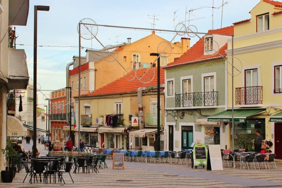 The town center is filled with cafes