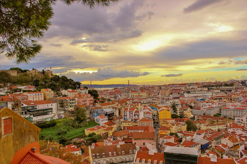 Amazing colors from Miradouro Graca, Lisbon Portugal.