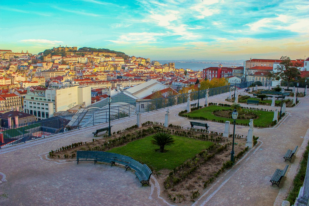 Lovely park and view from Miradouro de San Pedro de Alcantara, Lisbon Portugal.