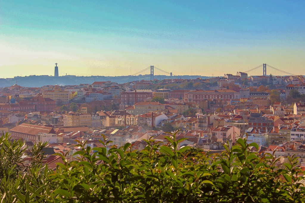 Super view from Miradouro do Monte Agudo, Lisbon Portugal.