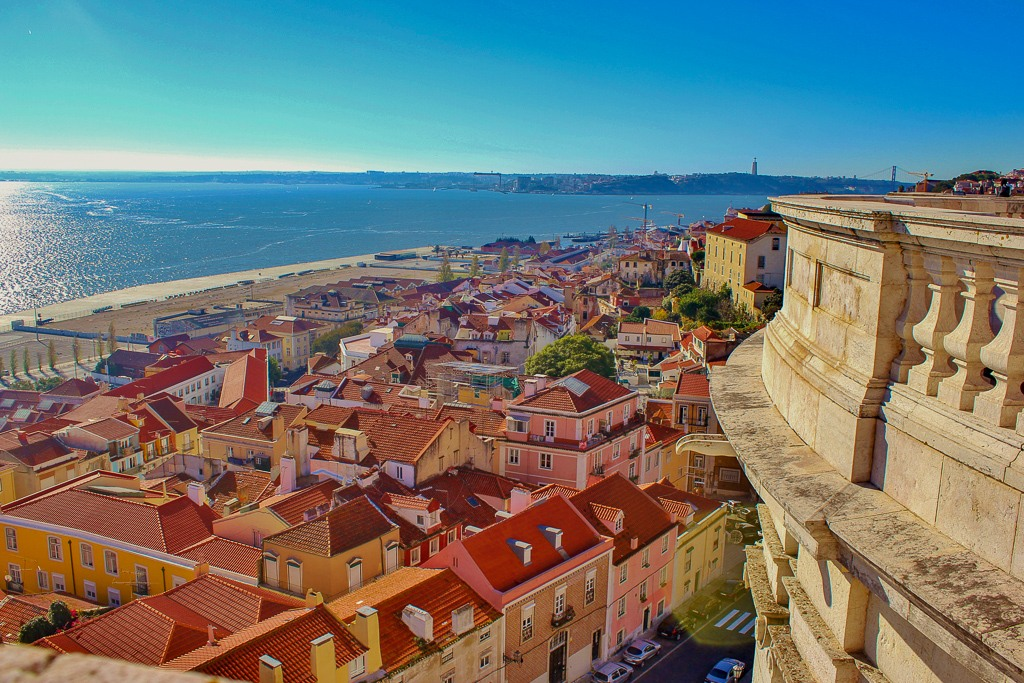 Dizzy views from on top of the National Pantheon Viewpoint, Lisbon Portugal.