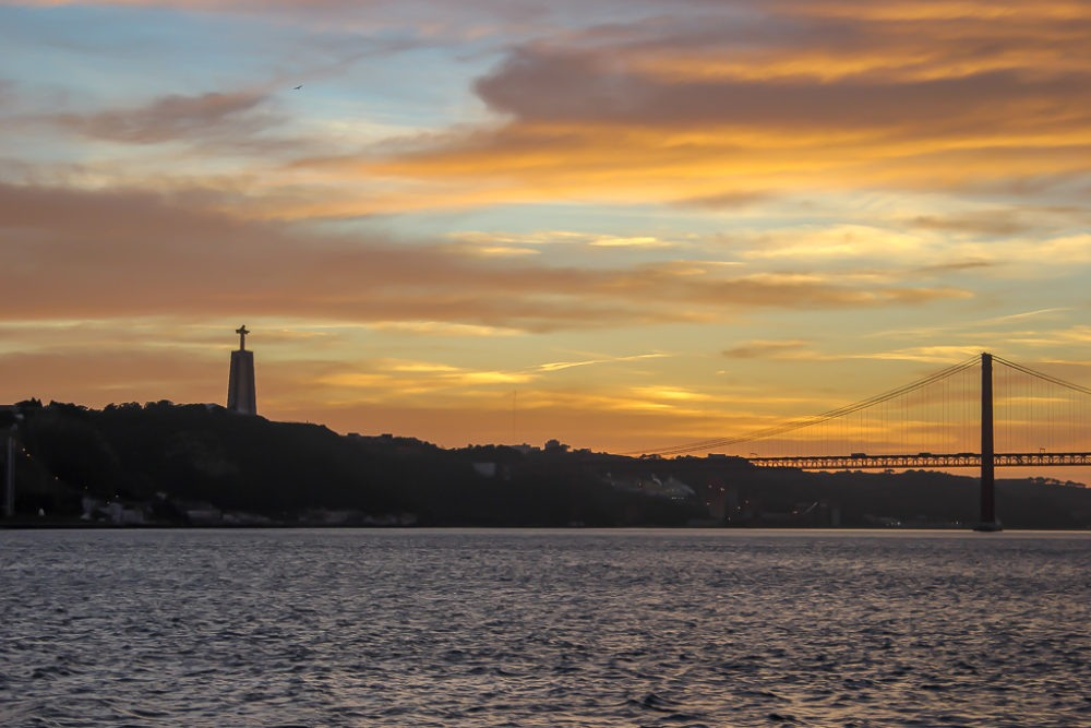 Sunset over Tagus River Lisbon, Portugal