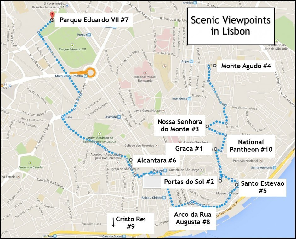 10 scenic viewpoints in Lisbon Map