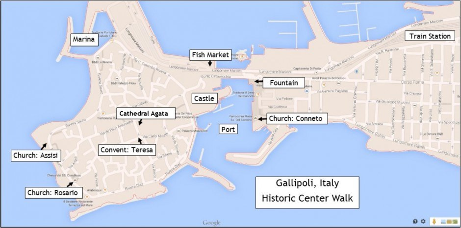 Day trip to Gallipoli, Italy, walking tour sights map