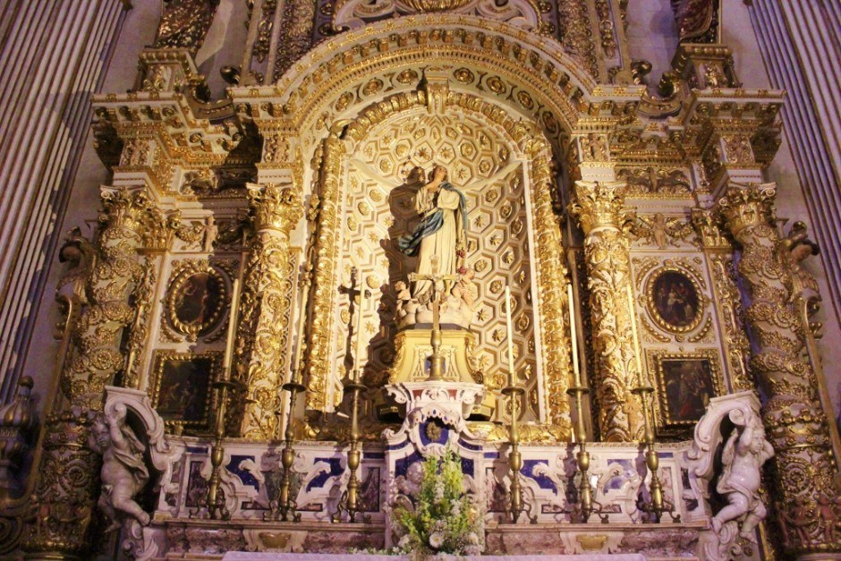 Duomo Cathedral statue of Mary side altar in Lecce, Italy