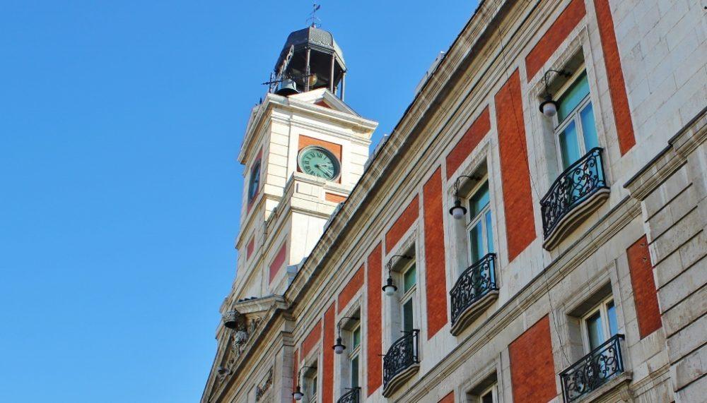 Iconic clock tower in Puerta del Sol, Madrid, Spain