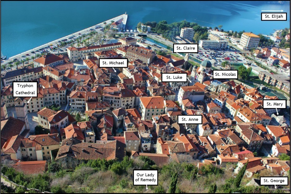 Churches in Kotor Montenegro Map