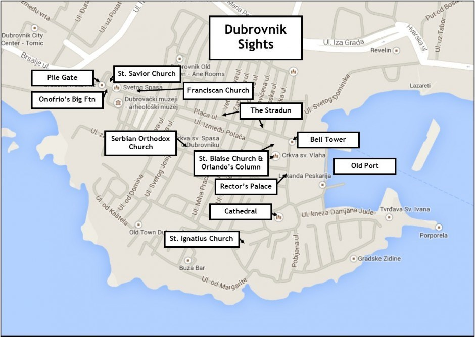 Dubrovnik Sights Map