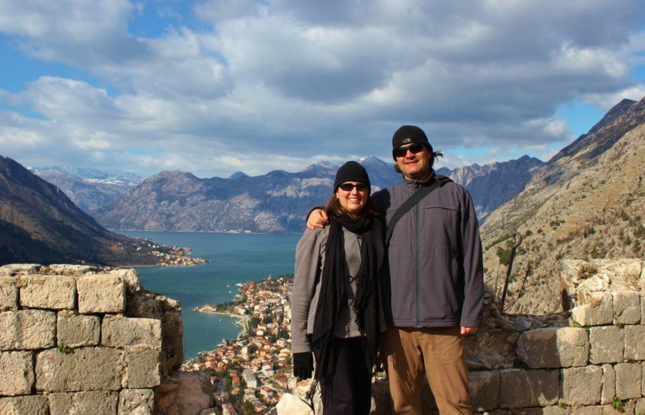 Hiking in Kotor: Sarah and Kris at the San Giovanni Castle at the top of the hill