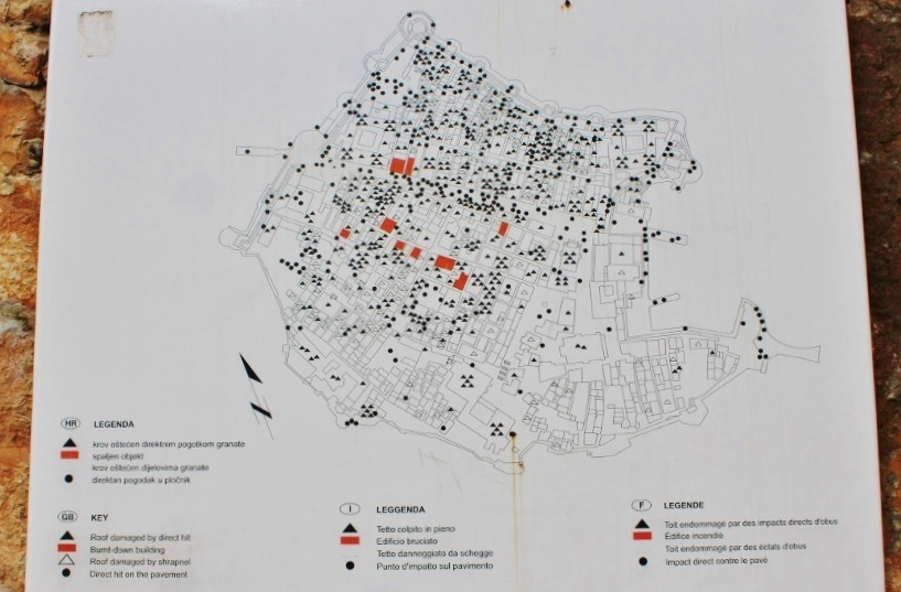 Dubrovnik sights: map of war damage