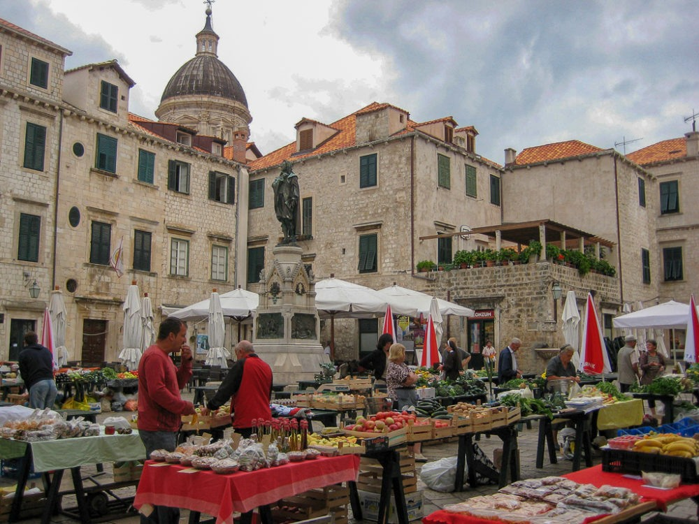 Old Town Market in Gundulicu Square in Dubrovnik, Croatia