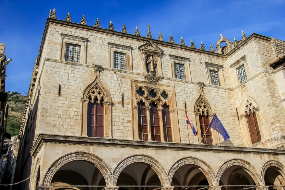 Ornately decorated Sponza Palace in Dubrovnik, Croatia