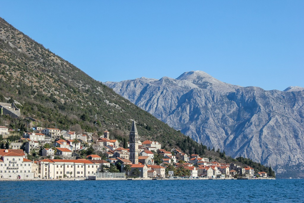 Bay of Kotor and of the town of Perast, Montenegro