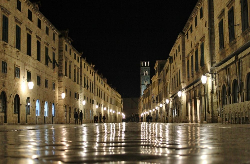The Stradun pedestrian street at night, Dubrovnik, Croatia JetSettingFools.com