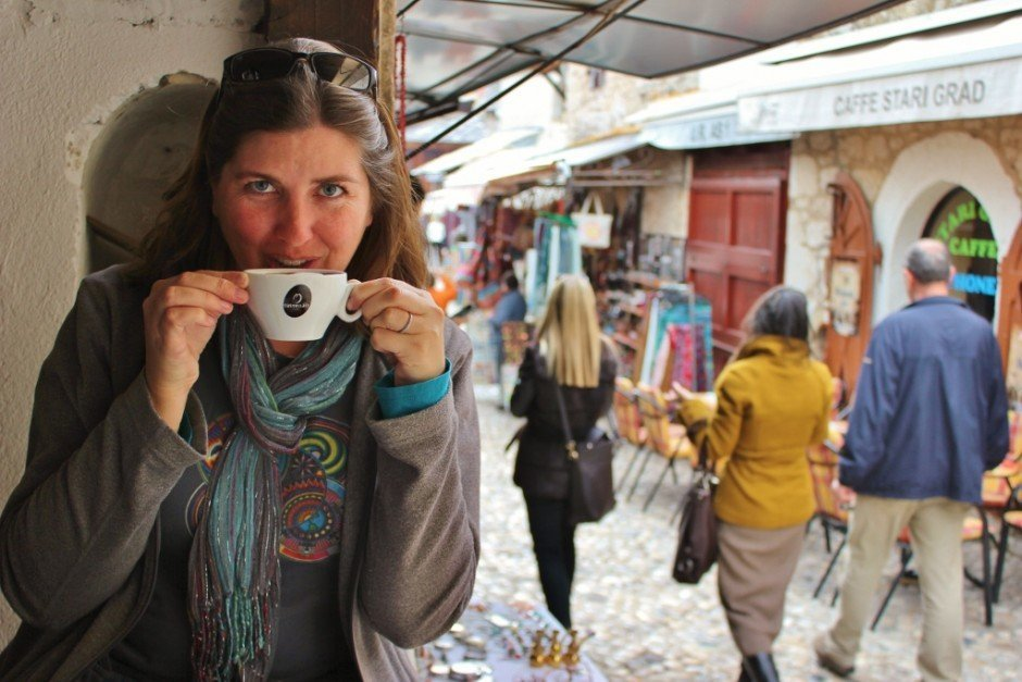 Our week in Mostar: Afternoon cappuccinos while people watching in the old town