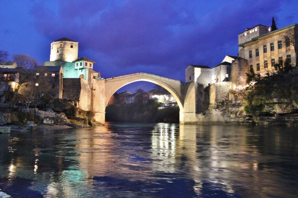 Our week in Mostar: The Old Bridge at night