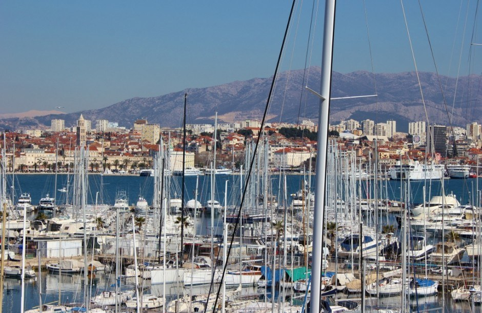 Sights to See in Split, Croatia: A view of the marina with Split in the background