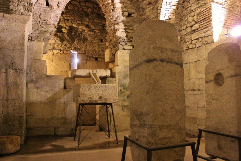 Diocletian's Palace sights: An old olive press in the basement of the palace