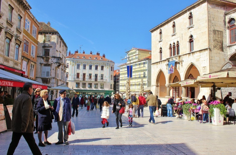 Sights to See in Split, Croatia: People's Square, the center of Split's Old Town