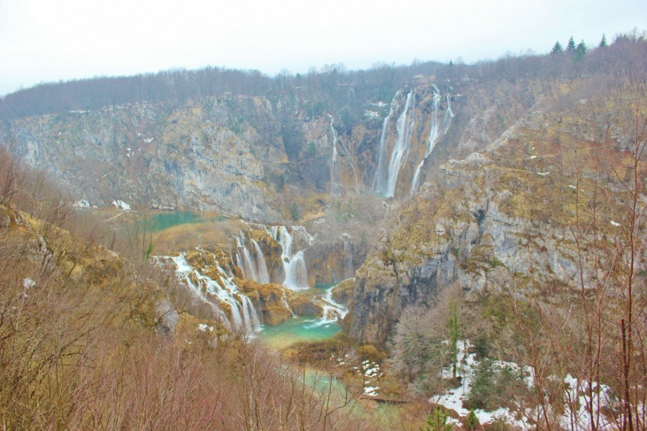 Arrival to Plitvice Lakes: The first view of the waterfalls is a stunner!