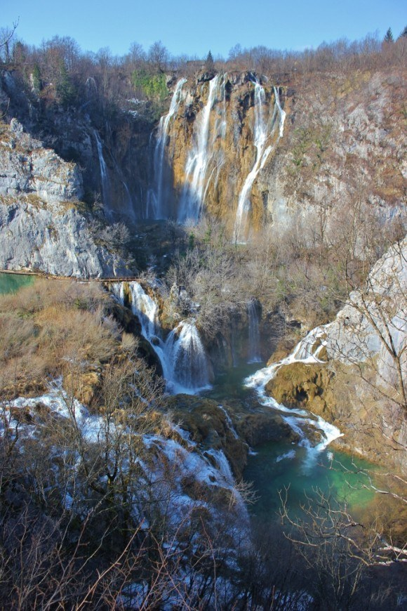 Visiting Plitvice Lakes: Veliki Slap (Big Waterfall) is the most impressive of the falls.