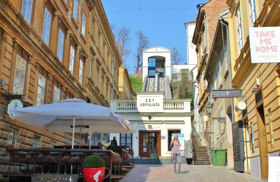 Entrance to the funicular to Gradec in Zagreb, Croatia