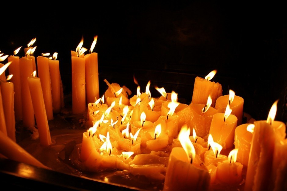 Candles burn in the chapel at Stone Gate in Gradec - Zagreb, Croatia