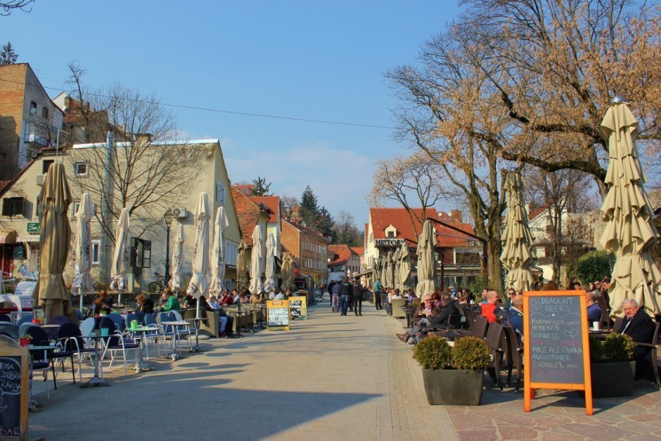 Cafes line Tkalciceva, a pedestrian street between Gradec and Kaptol in Zagreb.