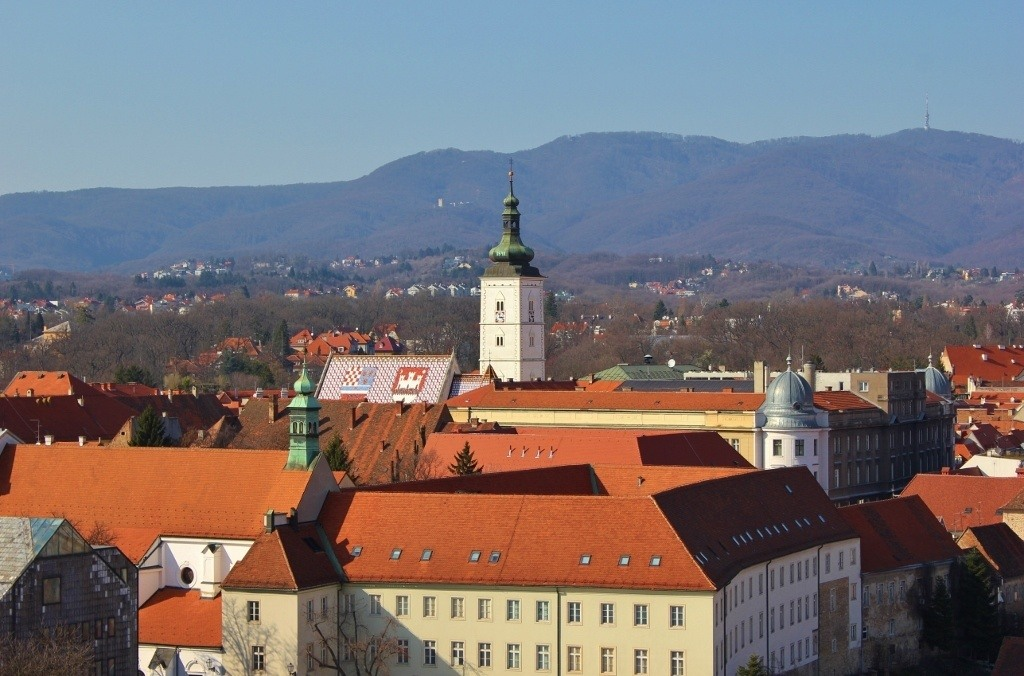 Visiting Zagreb, Croatia: A view of St. Mark's Square from the Zagreb Eye