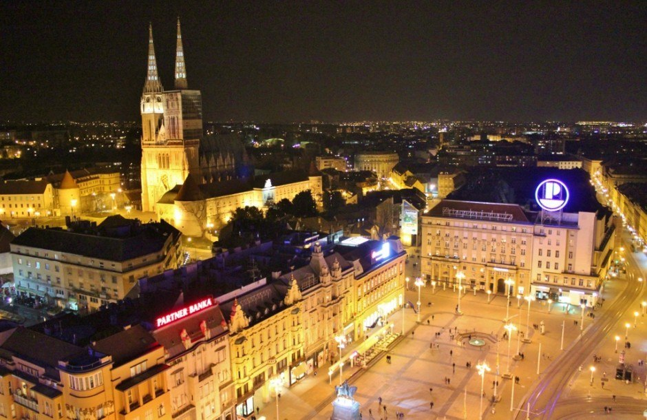 Jelacic Square, the Cathedral and Kaptol at night - Zagreb, Croatia.