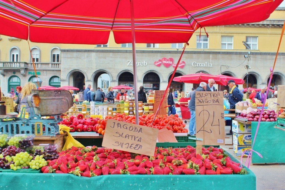 The lively outdoor produce market in Kaptol - Zagreb, Croatia.