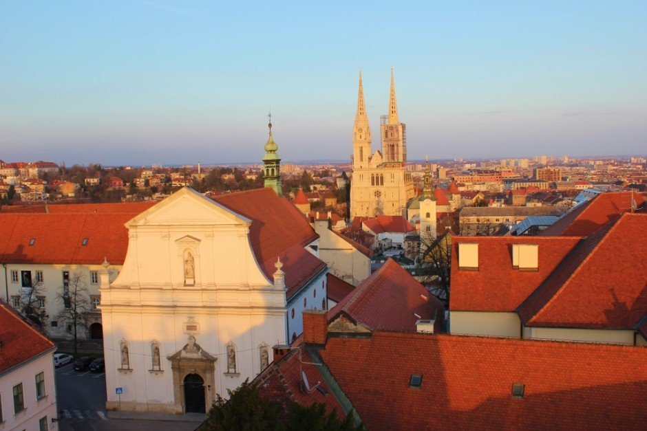 View of Zagreb from the Kula Lotrscak lookout tower in Gradec