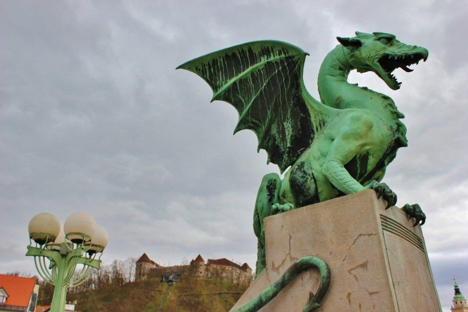 Famous Dragon Bridge in Ljubljana, Slovenia